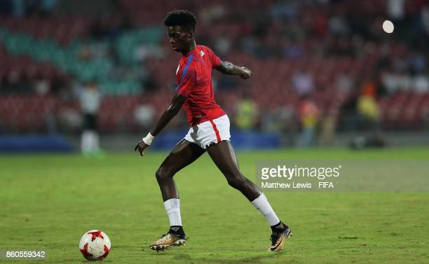 Tim Weah of the United States warms up during the FIFA U17 World Cup India 2017 group B match between USA and Colombia at Dr DY Patil Cricket Stadium...