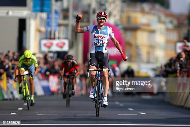 Tim Wellens of Belgium and Lotto Soudal celebrates as he crosses the finish line to win stage 7 of the 2016 ParisNice the final stage of 134km...
