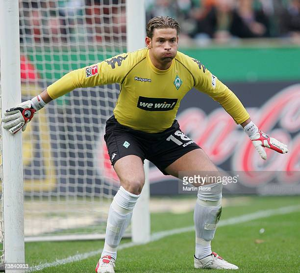 Tim Wiese goalkeeper of Bremen awaits the ball during the Bundesliga match between Werder Bremen and 1FC Nuremberg at the Weserstadion on April 8...