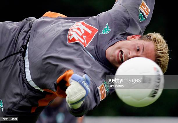 Tim Wiese in action during the training session of Werder Bremen training camp on July 8 2005 at Norderney Island Germany