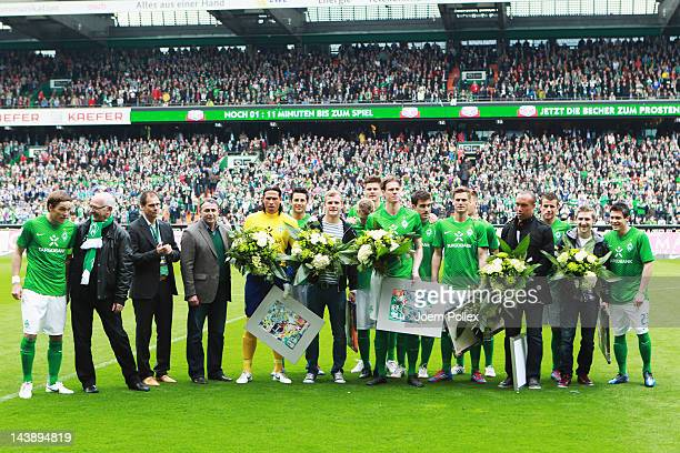 Tim Wiese Lennart Thy Tim Borowski Markus Rosenberg Mikael Silvestre and Marko Marin of Bremen are seen after a farewell ceremony prior to the...