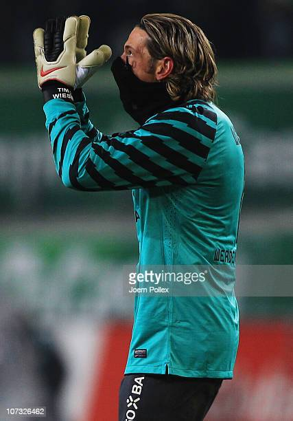 Tim Wiese of Bremen gestures after the Bundesliga match between VfL Wolfsburg and SV Werder Bremen at Volkswagen Arena on December 4 2010 in...