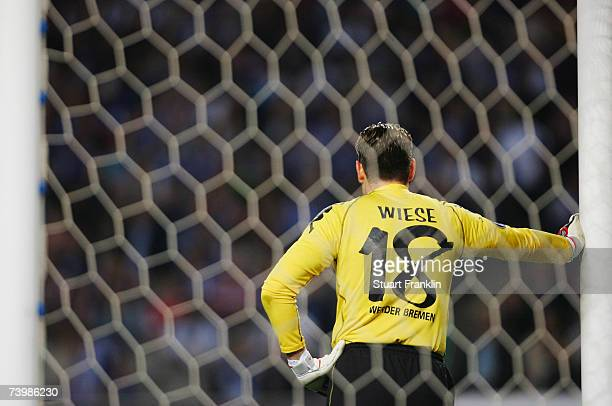 Tim Wiese of Bremen looks dejected during the UEFA Cup semi final first leg match between Espanyol Barcelona and Werder Bremen at the Olympico de...