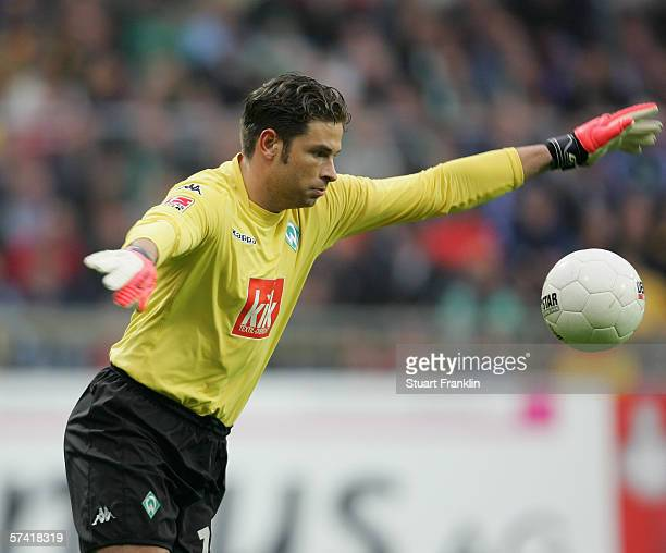 Tim Wiese of Werder Bremen in action during the Bundesliga match between Werder Bremen and FC Schalke 04 at the Weser Stadium on April 23 2006 in...