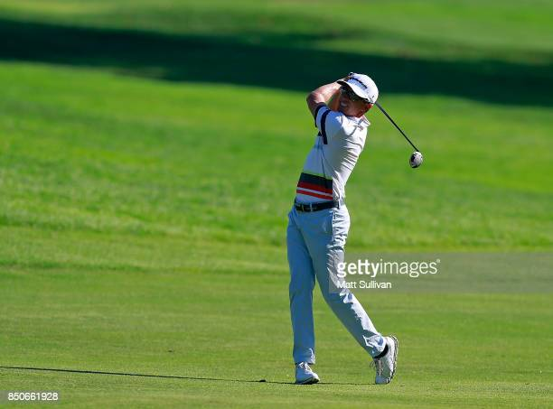 Tim Wilkinson of New Zealand watches his second shot on the 16th hole during the first round of the Webcom Tour DAP Championship on September 21 2017...