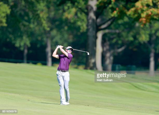 Tim Wilkinson watches his second shot on the sixth hole during the second round of the Webcom Tour DAP Championship on September 22 2017 in Beachwood...
