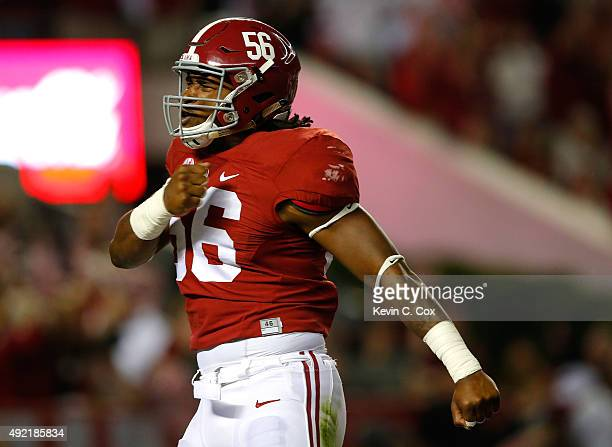 Tim Williams of the Alabama Crimson Tide reacts after sacking Brandon Allen of the Arkansas Razorbacks at BryantDenny Stadium on October 10 2015 in...