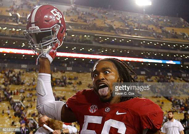 Tim Williams of the Alabama Crimson Tide reacts after their 100 win over the LSU Tigers at Tiger Stadium on November 5 2016 in Baton Rouge Louisiana