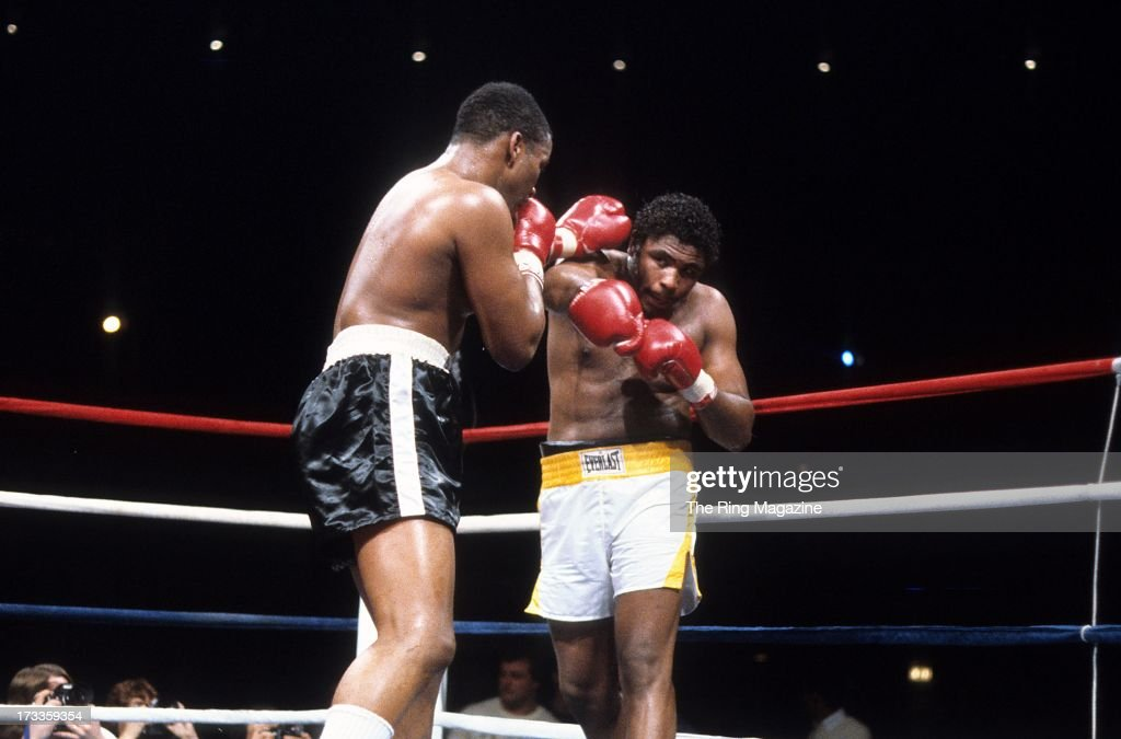 Tim Witherspoon (L) lands a punch against <a gi-track='captionPersonalityLinkClicked' href=/galleries/search?phrase=Greg+Page&family=editorial&specificpeople=730956 ng-click='$event.stopPropagation()'>Greg Page</a> during the fight at Convention Center in Las Vegas, Nevada. Tim Witherspoon won the vacant WBC heavyweight title by a MD 12.