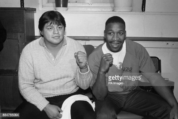 Tim Witherspoon meets his opponent Mauricio Villegas of Mexico at the weigh in before their clash in London