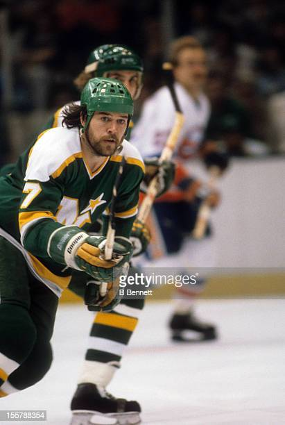 Tim Young of the Minnesota North Stars skates on the ice during the 1981 Stanley Cup Finals against the New York Islanders in May 1981 at the Nassau...