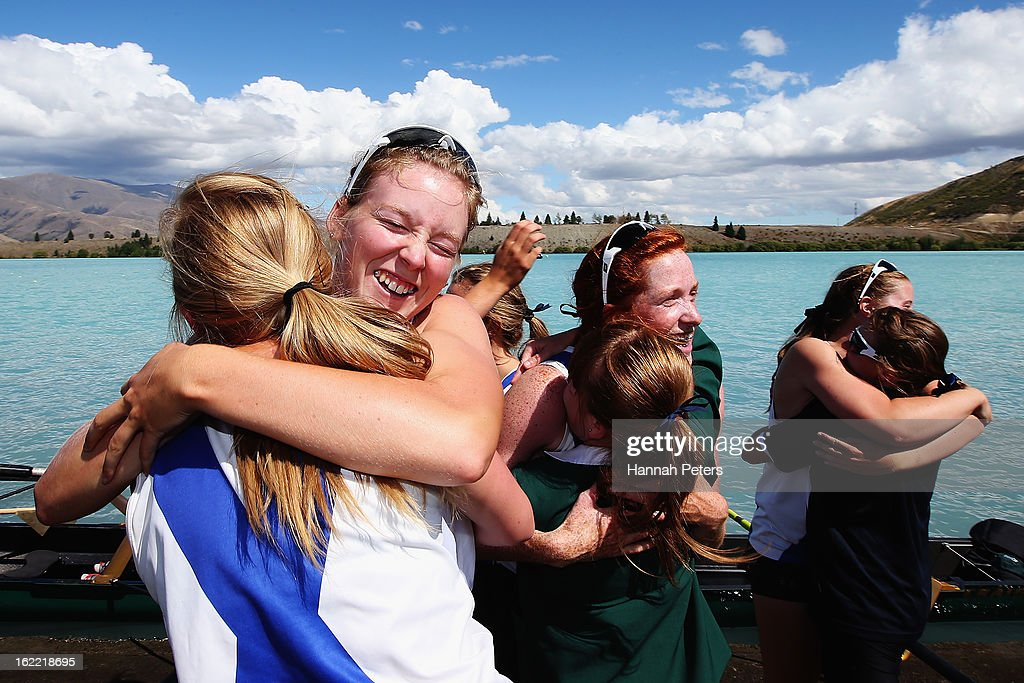 Timaru celebrate winning the Women's Club 8+ final during day three of the New Zealand Rowing Championships at Lake Ruataniwha on February 21, 2013 in Wellington, New Zealand.
