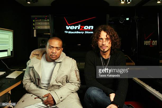 Timbaland and Chris Cornell appear in the Verizon Mobile Recording Studio Bus on March 13 2009 in Chicago Illinois