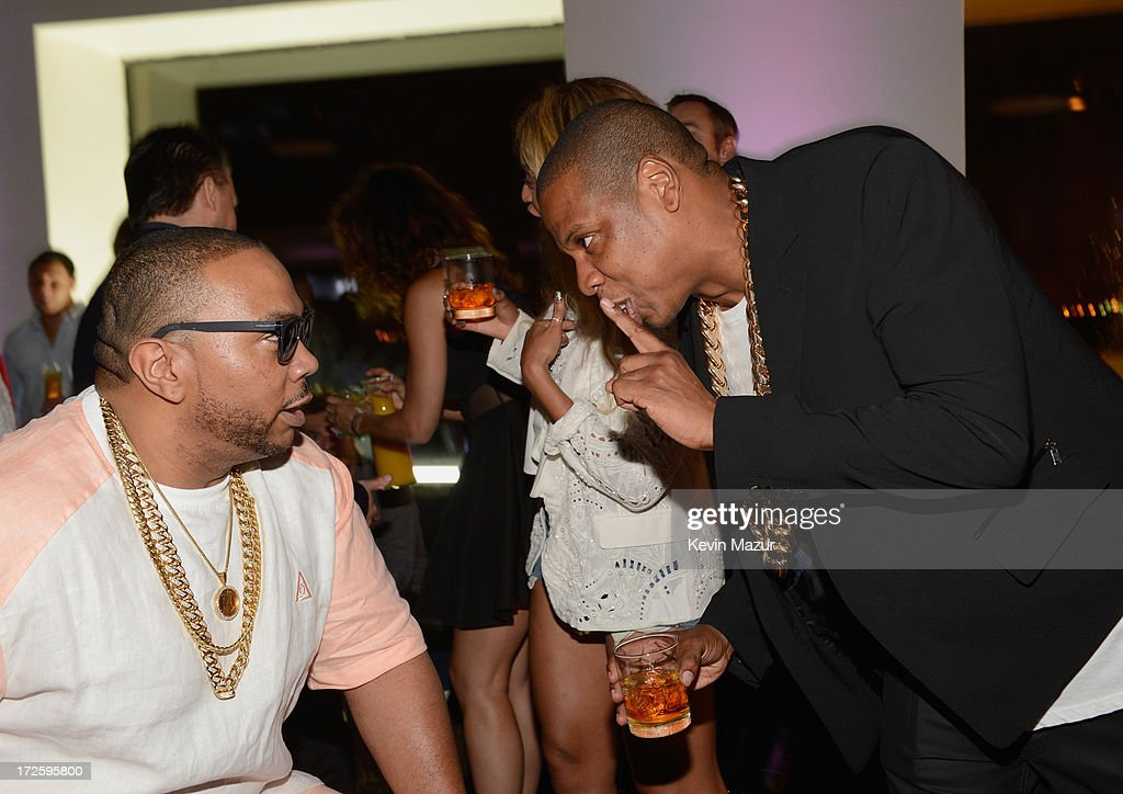 <a gi-track='captionPersonalityLinkClicked' href=/galleries/search?phrase=Timbaland+-+Rapper&family=editorial&specificpeople=546742 ng-click='$event.stopPropagation()'>Timbaland</a> and JAY Z attend JAY Z and Samsung Mobile's celebration of the Magna Carta Holy Grail album, available now through a customized app in Google Play and Samsung Apps exclusively for Samsung Galaxy S 4, Galaxy S III and Note II users on July 3, 2013 in Brooklyn City.