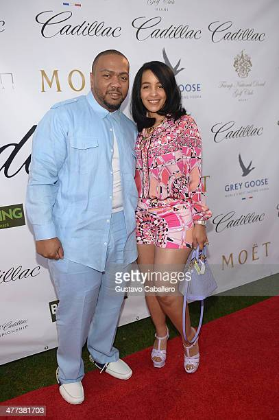 Timbaland and Monique Mosley attends GREY GOOSE Vodka and the Cadillac Championship Toast Travie McCoy at Trump National Doral on March 8 2014 in...