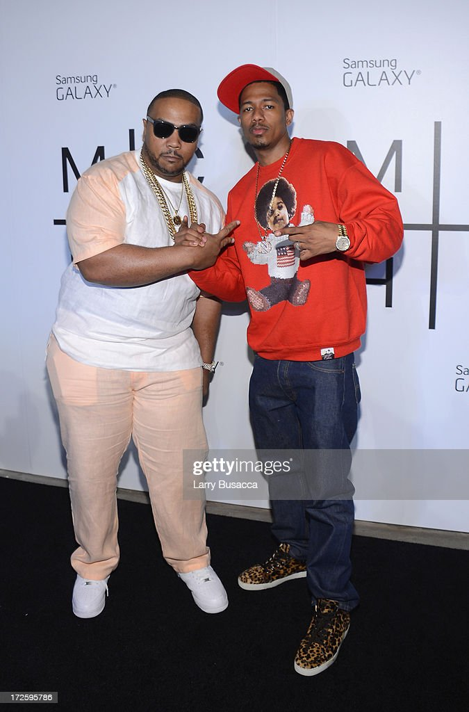 Timbaland and Nick Cannon attend JAY Z and Samsung Mobile's celebration of the Magna Carta Holy Grail album, available now through a customized app in Google Play and Samsung Apps exclusively for Samsung Galaxy S 4, Galaxy S III and Note II users on July 3, 2013 in Brooklyn, New York.