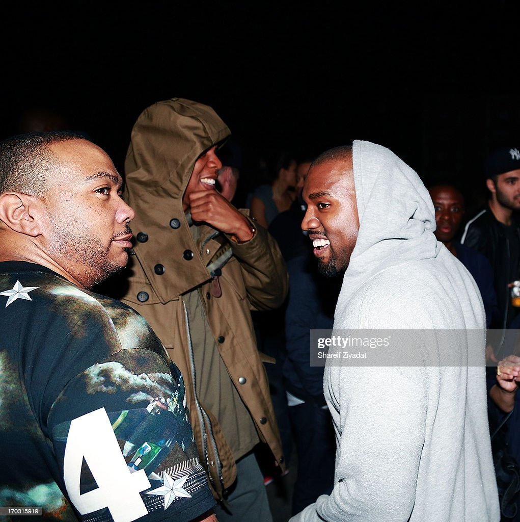 Timbaland, Jay Z and Kanye West attend the Kanye West album listening party at Milk Studios on June 10, 2013 in New York City.
