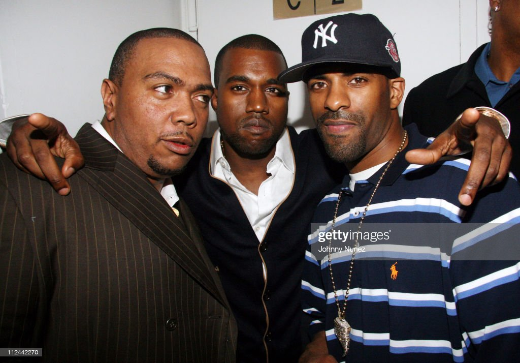 Timbaland Kanye West and DJ Clue during 2006 MTV Video Music Awards Timbaland PreVMA Bash Hosted by GQ Best Buy Helio Hennessy Moet and Chandon at...