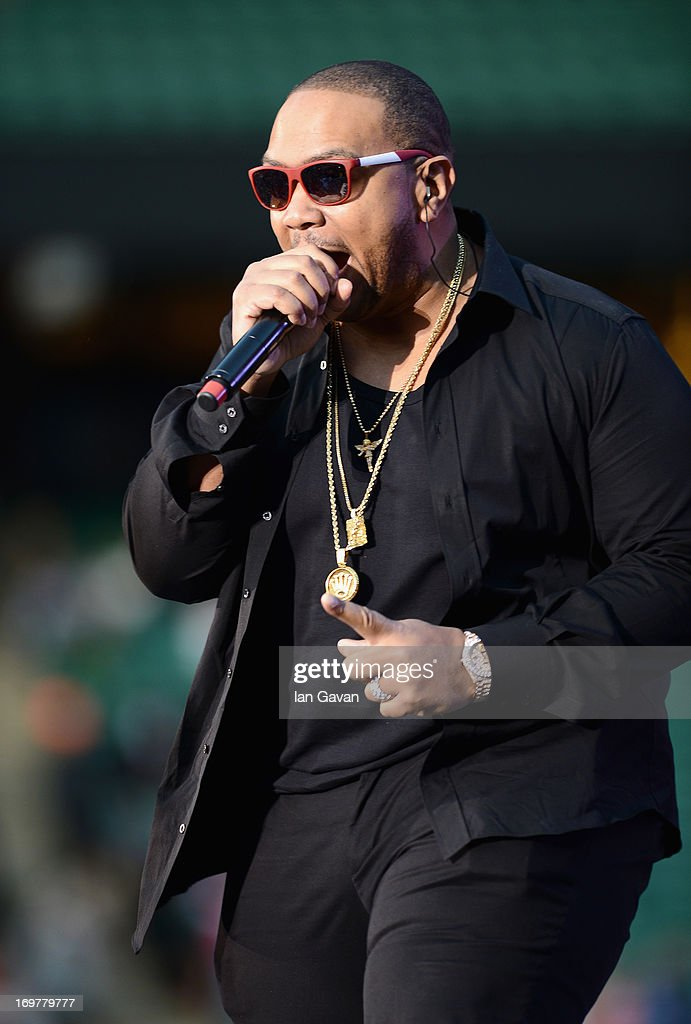 Timbaland performs on stage at the 'Chime For Change: The Sound Of Change Live' Concert at Twickenham Stadium on June 1, 2013 in London, England. Chime For Change is a global campaign for girls' and women's empowerment founded by Gucci with a founding committee comprised of Gucci Creative Director Frida Giannini, Salma Hayek Pinault and Beyonce Knowles-Carter.