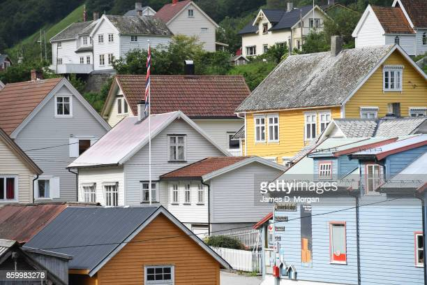 timber houses in Norwegian fjord land on February 8th 2017 in Norway