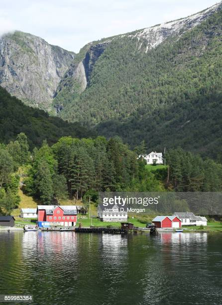 Timber houses in Norwegian fjordland on February 8th 2017 in Norway