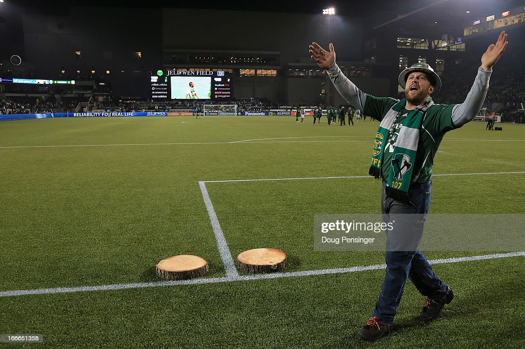 Timber Joey celebrates as he presents the slabs for the game winning goal by Will Johnson of the Portland Timbers and the shutout for goal keeper...
