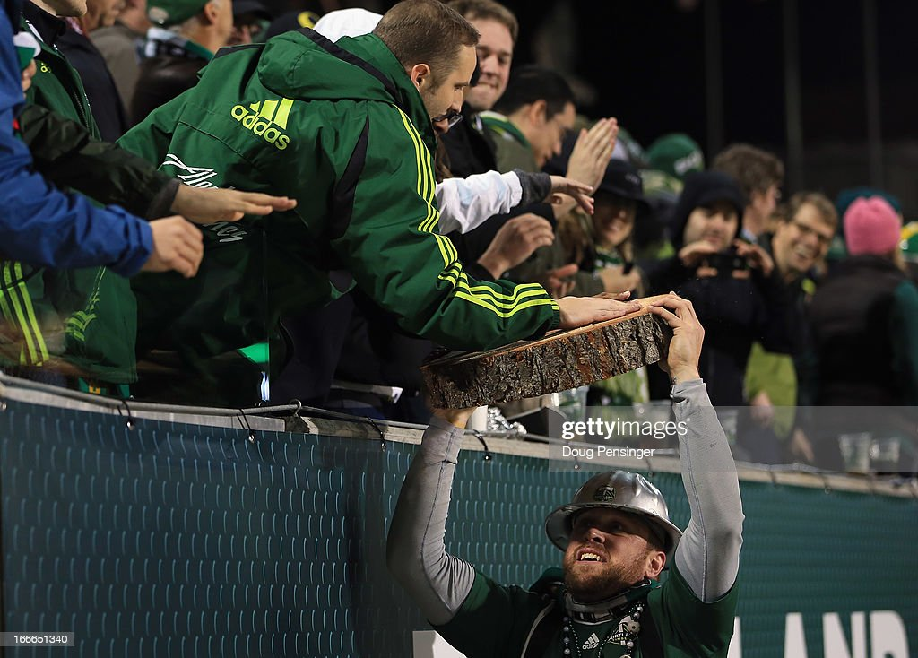 Timber Joey presents the slab for the game winning goal by Will Johnson of the Portland Timbers against the San Jose Earthquakes to the fans at...
