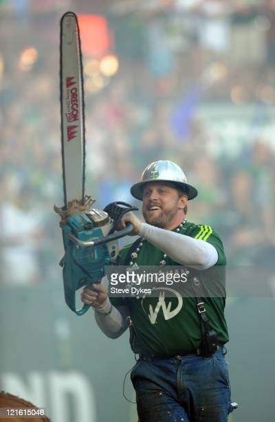 'Timber Joey' the mascot of the Portland Timbers fires up his chainsaw after the Timbers scored a goal during the first half of the game against...