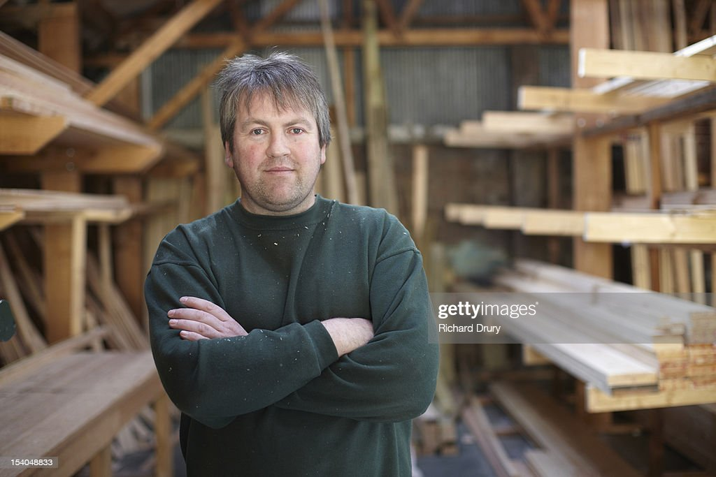 Timber merchant in his store : Stock Photo