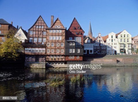 Timbered houses by river, Lueneburg, Germany