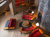 Timberline Lodge with Interior Chairs by Fireplace Mount Hood Oregon