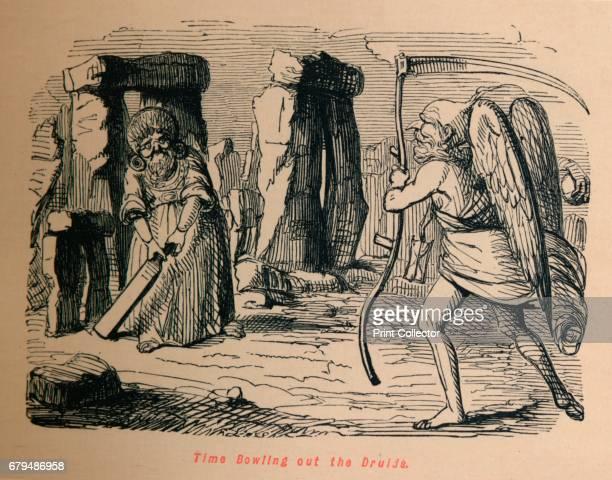 Time Bowling out the Druids' c1860 From The Comic History of England Volume I by Gilbert A A'Beckett [Bradbury Agnew Co London] Artist John Leech
