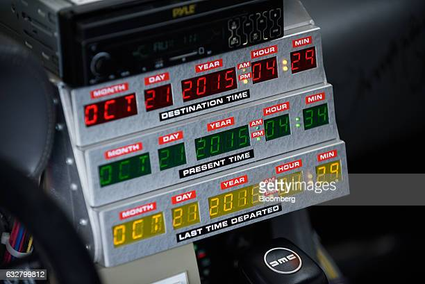 Time control panels are seen inside a replica of the timetraveling DeLorean featured in the film 'Back to the Future' owned by Jeplan Inc in an...