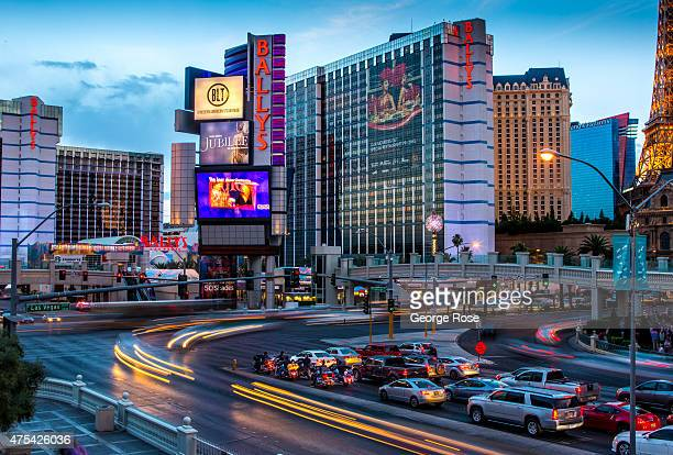 A time exposure of the traffic along the Las Vegas Strip is viewed from Caesars Palace on May 19 2015 in Las Vegas Nevada Tourism in America's 'Sin...