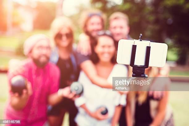 Zeit für einen schnellen team selfie