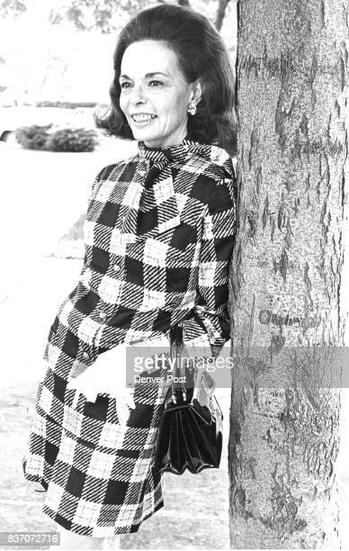 Time For Fall Fashions Autumn gold and black plaid dress with matching purse was recent partygoing attire of Mrs James Voorhees Jr Credit Denver Post