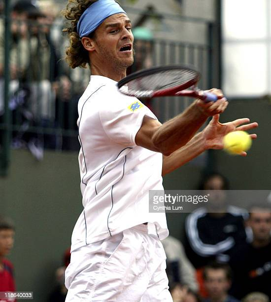 2 time French Open Champion Gustavo Kuerten is defeated by David Sanchez at the 2005 French Open on May 24 2005 at Roland Garrow Stadium