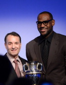 Time Inc Sports Group Editor Paul Fichtenbaum and 2012 Sportsman of the Year LeBron James speak onstage at the 2012 Sports Illustrated Sportsman of...