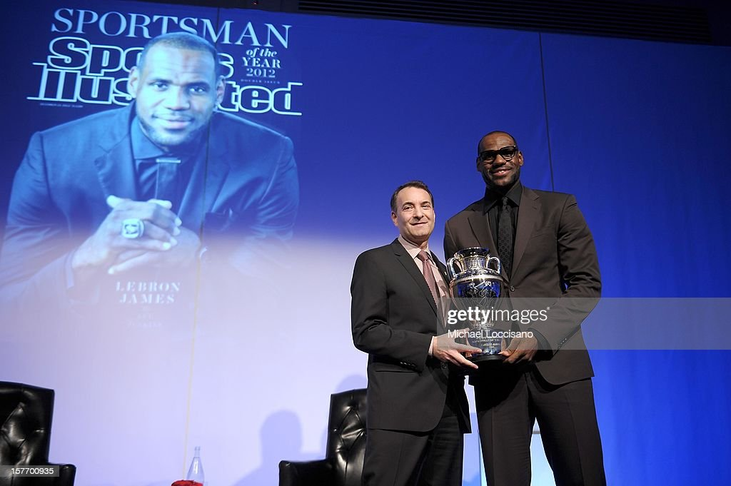 Time Inc. Sports Group Editor Paul Fichtenbaum (L) and 2012 Sportsman of the Year <a gi-track='captionPersonalityLinkClicked' href=/galleries/search?phrase=LeBron+James&family=editorial&specificpeople=201474 ng-click='$event.stopPropagation()'>LeBron James</a> speak onstage at the 2012 Sports Illustrated Sportsman of the Year award presentation at Espace on December 5, 2012 in New York City.