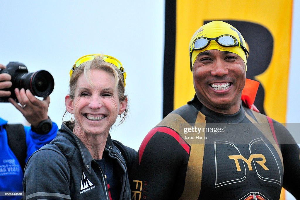 8 time Ironman World Championship winner Paula Newby Fraser and football legend Hines Ward before the start of the SEAL Sprint III Triathlon on March 17, 2013 in San Diego, California.