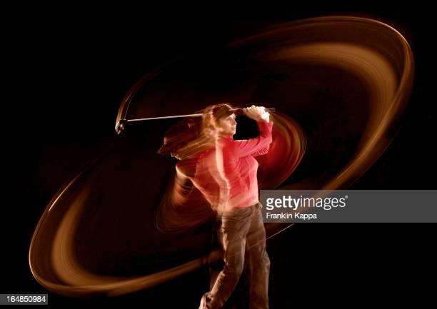 Zeitraffer auf die Golfspieler Schwingen