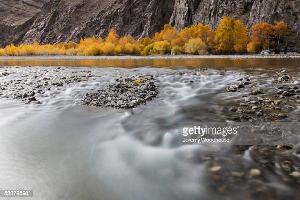 Time lapse view of river and rocky riverbed in remote landscape
