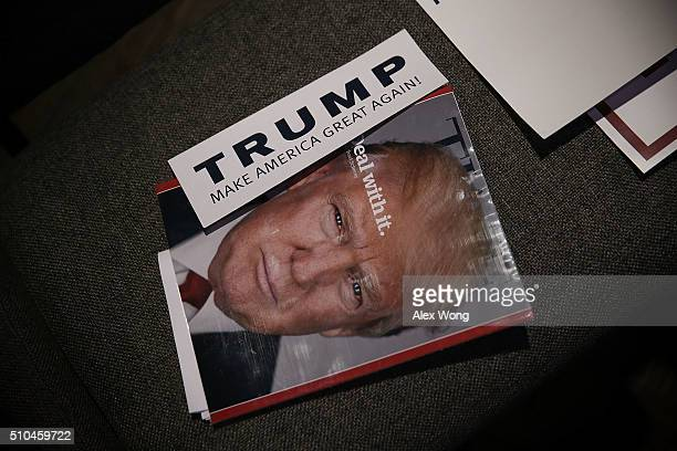 Time Magazine cover featuring Republican presidential candidate Donald Trump is seen during a campaign event February 15 2016 in Greenville South...