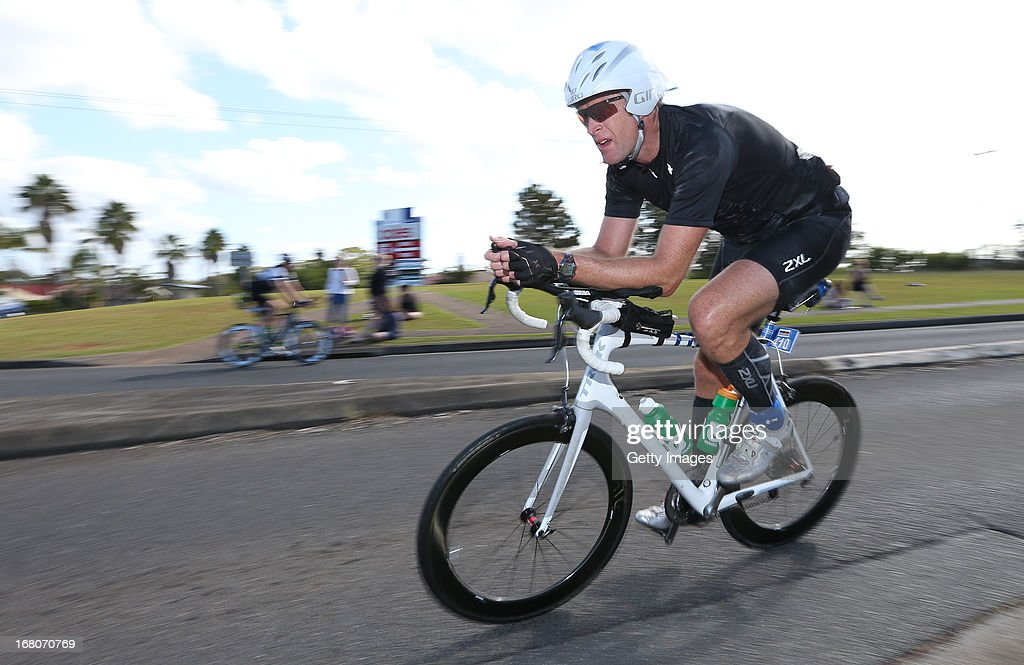 5 time olympian Mahe Drysdale from New Zealand competes in the Port Macquarie round of the 2013 Ironman Australia series on May 5, 2013 in Port Macquarie, Australia.