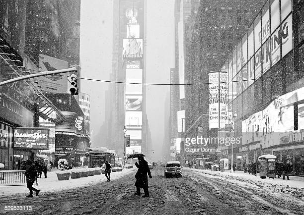 Time Square in snow storm