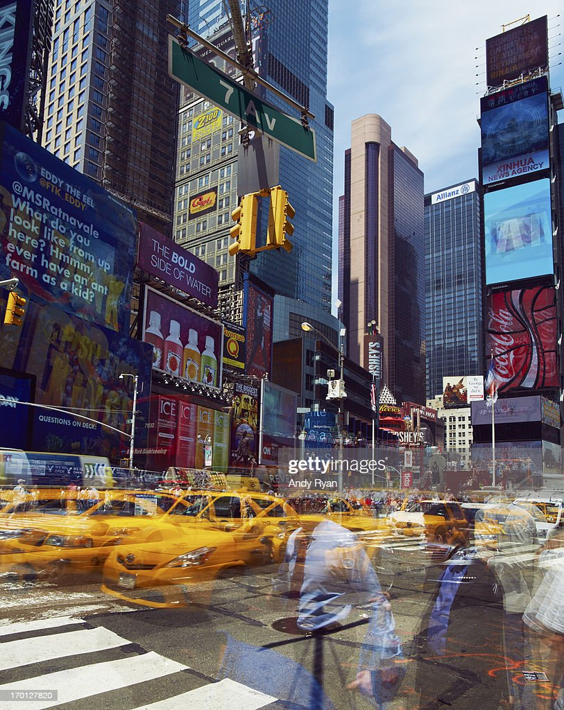 Time Square, multiple exposure of crowds & traffic : Stock Photo