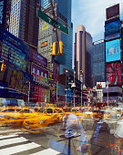 Time Square, multiple exposure of crowds & traffic