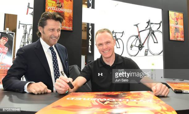4 time Tour de France winner Chris Froome and Pinarello President Fausto Pinarello attend the Cycle Mode International at Makuhari Messe on November...