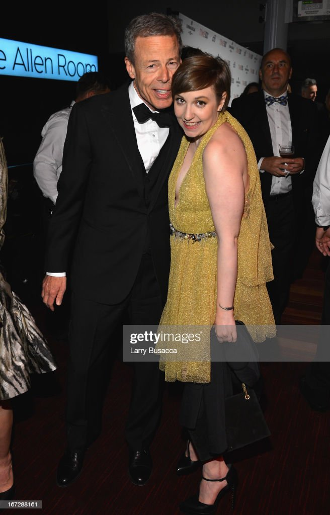 Time Warner CEO Jeffrey Bewkes and filmmaker Lena Dunham attend the TIME 100 Gala, TIME'S 100 Most Influential People In The World reception at Jazz at Lincoln Center on April 23, 2013 in New York City.
