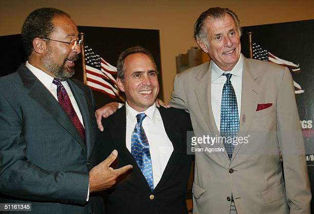 AOL Time Warner CEO Richard Parsons HBO Sports President Ross Greenburg and sports journalist Frank DeFord attend a special screening of HBO Sports'...